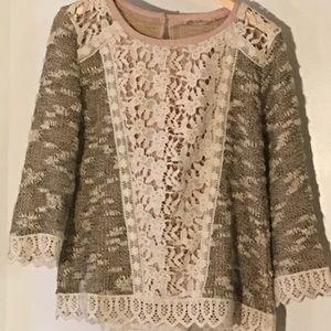 Bohemian Lace and Boucle Sweater - Ezra - M